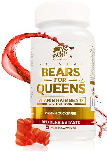 GREENLIONS® BEARS FOR QUEENS - Biotin Gummibärchen OHNE Zucker für Haut Haare Nägel - SCHWEIZER QUALITÄT - Haar Vitamine - 12 Vitamine - Zink (10mg), Vitamin C (80mg), D3-100%...