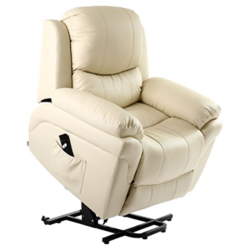 More4Homes MADISON ELECRTIC RISE RECLINER BONDED LEATHER ARMCHAIR SOFA HOME LOUNGE CHAIR (Cream)