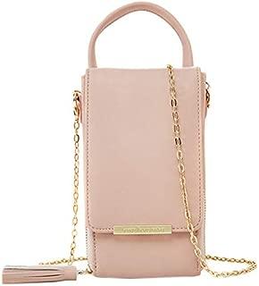 TOOGOO Women's Chain Mobile Phone Bag PU Leather Portable Wallet Multi-Card Crossbody Shoulder Bag Pink