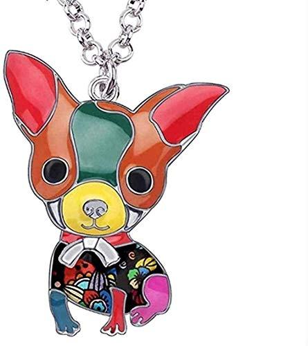 Collar Moda Aleación de esmalte Lindo Chihuahua Perro Gargantilla Collar Colgante Cadena Collar Moda Animal Joyería para mascotas Collar para mujeres Niñas Regalo Collar colgante Regalo para hombres M