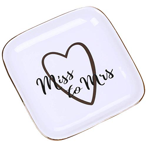 Jewelry Dishes Trinket Catchall Tray - Ceramic Earring Dish Bathroom Jewelry Plate Square Miss to Mrs Dish Gift for Wedding and Engagement Rings, Earrings, Bracelets, Necklaces, Watches, Couples Gifts