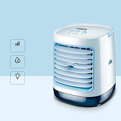 YOCASA Personal Air Conditioner Fan,3 In 1 Desktop Portable Mini Evaporative Air Cooler Misting Fan Air Conditioner 3 Speed Night Light Room Office Kitchen Light Blue Rectangular