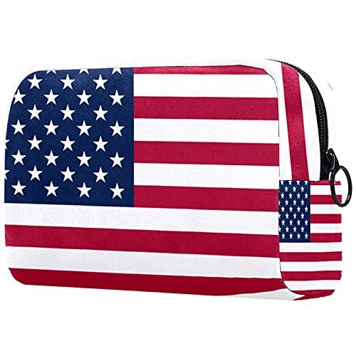 FURINKAZAN Bolsa de maquillaje de viaje de la bandera estadounidense de los E.E.U.U. para el bolso de los artículos de tocador bolsa de maquillaje hombres