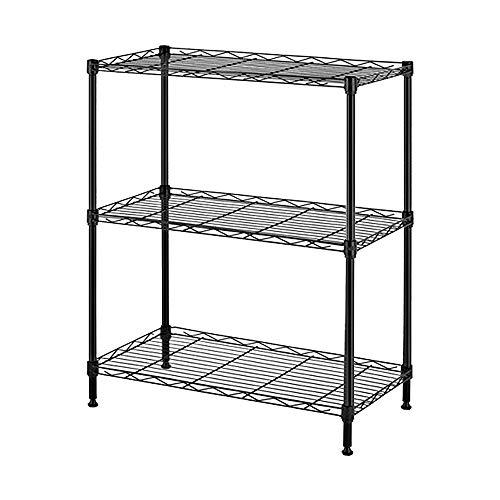 3-Tier Wire Shelving, Adjustable Shelf Storage Rack, 3-Shelf Heavy Duty Storage Shelving Unit Metal Organizer Wire Rack for Pantry Closet Kitchen Laundry Organization (Black)