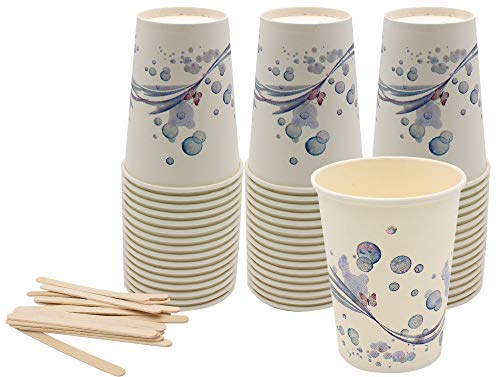 Exxens 100 vasos grandes de papel con paletas de madera para café,...