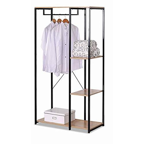 Garderobekast met 3 niveaus van hout, kapstok van metaal. Originele opbergkast, 90 x 40,4 x 167 cm