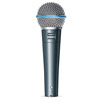 """Shure BETA 58A Supercardioid Dynamic Vocal Microphone with A25D Adjustable Stand Adapter 5/8"""" to 3/8""""  Euro  Thread Adapter and Storage Bag"""