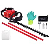EASYG 23.6cc Gas Hedge Trimmer 24' 2-Cycle Recoil Gasoline Trim Blade Blade Double-Sided with Safety Gloves and Some Accessories