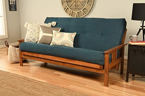 Kodiak Furniture Monterey Futon Set, No Drawers, with Barbados Base and Suede Navy Mattress