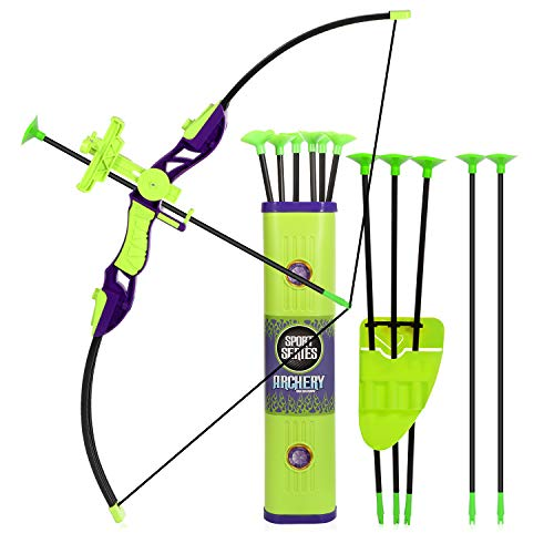 Goldboy Kids Archery Bow and Arrows Toy Set, Kids Practice Cross Bow for Training, Girls Toy Archery Set Fun Sport Game with 12 Durable Suction Cup Arrows (Green)