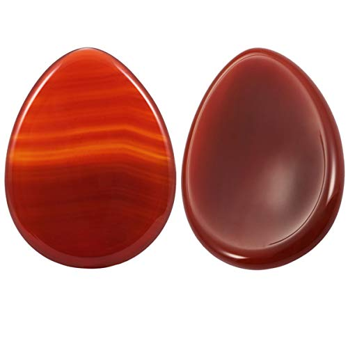 rockcloud Worry Stone,Thumb Palm Stones for Anxiety, Healing Crystal, Water Drop Shape, Carnelian