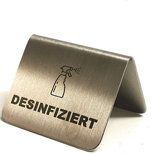 Kerafactum Desinfiziert Desinfektion Tischschild Schild Information Hinweis Hinweisschild Desinfiziertschild frisch desinfected Eckig aus Edelstahl matt glänzend Pictogramm Schild stehend stapelbar