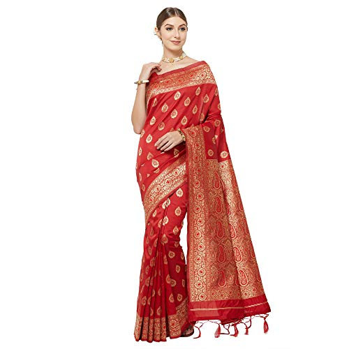 IDIKA Women's Banarasi Art Silk Saree With Blouse Piece (IDIKA_Maroon)