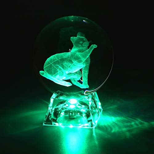 Mobestech 3D Crystal Ball with LED Color Changes Lamp Base Luck Cat Engraving Sphere Glass Ball for Kids Gifts Desktop Ornaments Christmas