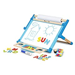 BUILT-IN PAPER ROLL: This tabletop easel includes a dry-erase board and chalkboard, a built-in wooden paper roll holder, a 50-foot-long paper roll, dry-erase marker, 5 pieces of colored chalk, an eraser, and 36 letter and number magnets. STURDY WOODE...