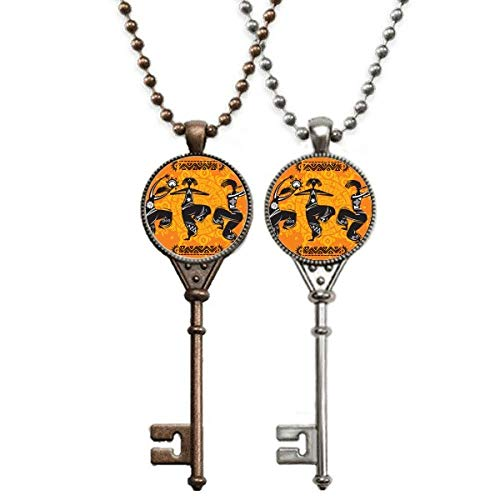 Dance People Mexico Totems Mexican Flute Key Necklace Pendant Jewelry Couple Decoration