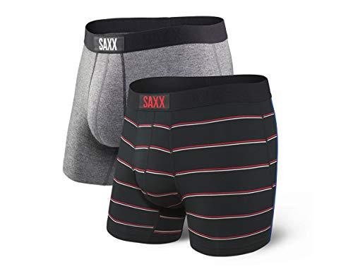 Saxx Underwear Herren Vibe Boxer Brief 2pk, Grey-Shallow Stripe, M