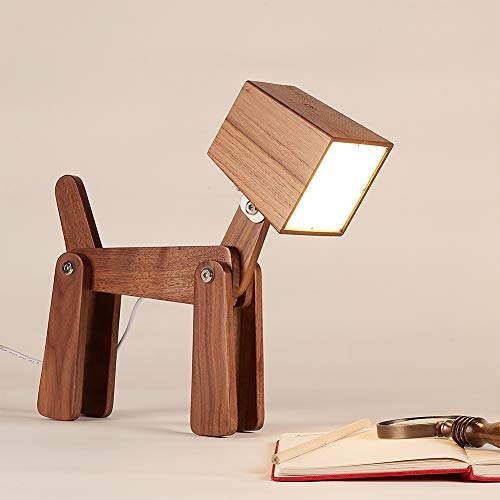 HROOME Modern Cute Dog Adjustable Wooden Dimmable Beside Desk Table Lamp Touch Sensor with Night Light for Bedroom Office Kids