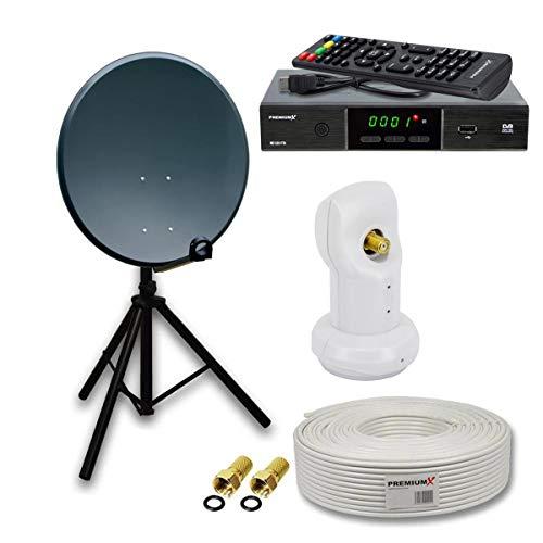 PremiumX Camping Sat Anlage Set 45cm Antenne Anthrazit Single LNB Dreibein-Stativ Antnnenkabel HDTV Satelliten-Receiver