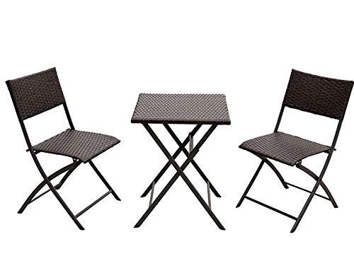 Mesa de muebles de jardín de ratán Mesa de comedor plegable de 4 plazas con 2 sillas al aire libre de patio, robusto y duradero, resistente a los rayos UV y a prueba de intemperie, acero de aleación