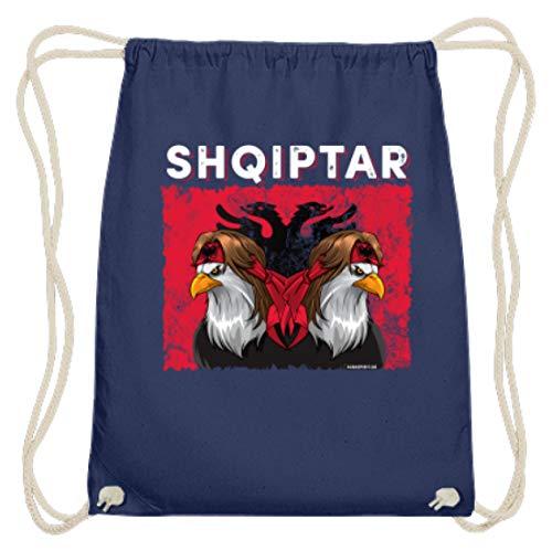 ALBASPIRIT Shqiptar Albaner Wappen Albanischer Adler Albanien Flagge - Baumwoll Gymsac -37cm-46cm-Marineblau