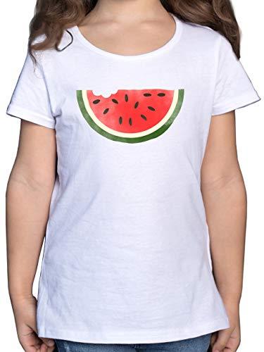 Bunt gemischt Kinder - Wassermelone Wasserfarbe - 128 (7/8 Jahre) - Weiß - melonen t-Shirt Kinder - F131K - Mädchen Kinder T-Shirt