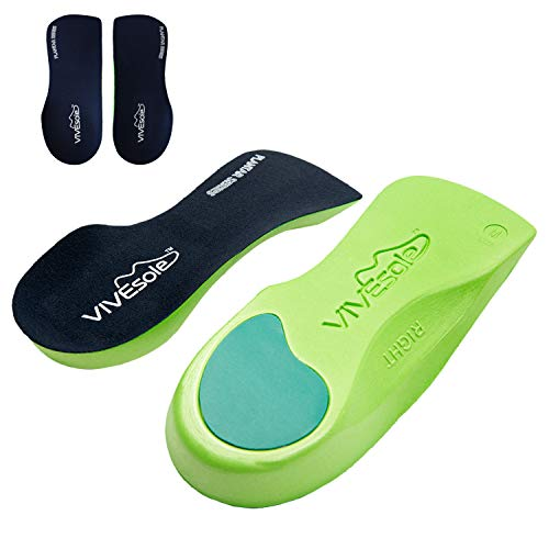 Vivesole Orthotic Heel Insoles  Half Shoe Inserts for Plantar Fasciitis Foot Arch Feet Fatigue Lower Back Pain Relief  Non Odor Foam Cup Support for Men Woman  For Walking Running Exercises