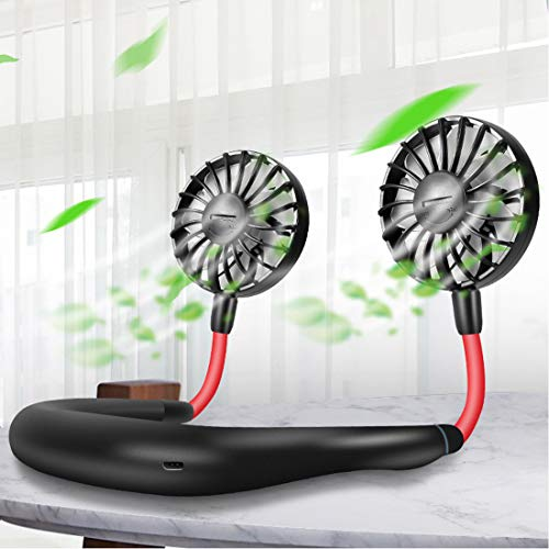 Portable Usb Fans Wearable Neckband Mini Fans Rechargeable Battery Operated Dual Head 3 Speeds for Traveling Outdoor Office Room(Black)