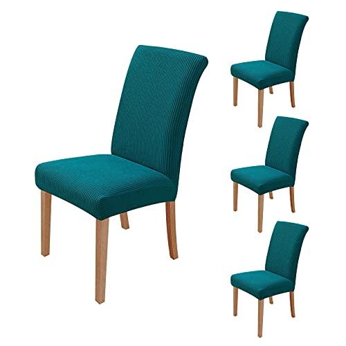 sorliva Fundas para Sillas Pack de 4 Fundas Sillas Comedor Fundas Protectoras para Sillas Lavables Comedor Decoración de Elástica para sillas para Banquetes Oficina Hogar Restaurante Bar (Azul Verde)