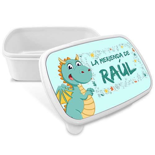 Caja de Merienda Dragón Personalizada con Nombre/Curso. Vuelta al Cole Niña Niño. Varios Diseños a Elegir. Dragón