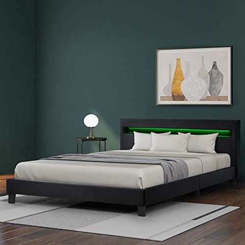 ZOEON Polsterbett 140 x 200 cm - Bettgestell mit LED Beleuchtung - Lattenrost & Kopfteil - Kunstleder Bezug & Holz Gestell - Einzelbett Jugendbett (Schwarz)