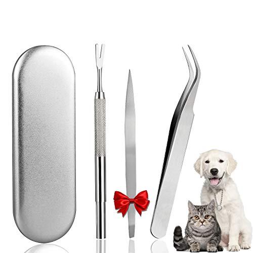 Garrapatas Herramienta,Emooqi 3 Set of Profesional Pinzas Que Elimina las Garrapatas Acero Inoxidable Removedor de Garrapatas Para Garrapatas en Gatos,Perros - con caja de regalo de acero inox