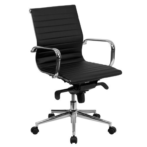 Flash Furniture Mid-Back Black Ribbed LeatherSoft Swivel Conference Office Chair with Knee-Tilt Control and Arms, BIFMA Certified