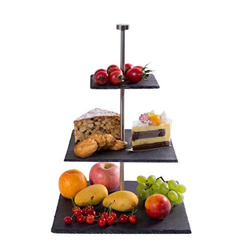 eGenuss Schieferplatten - für Hochzeit, Party, Essen, Abendessen, Geburtstag, Restaurant - Modern und Original – Serviertabletten auf Schiefer Regal mit 3 Etagen