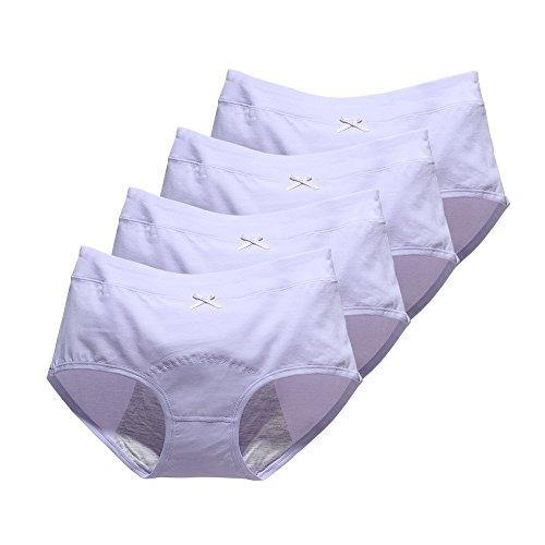 Phennie's Big Girls Menstrual Period Panties Pack of 4Young Female Absorbent Free Leak Briefs Teens No Leak Underwear Light Purple XL