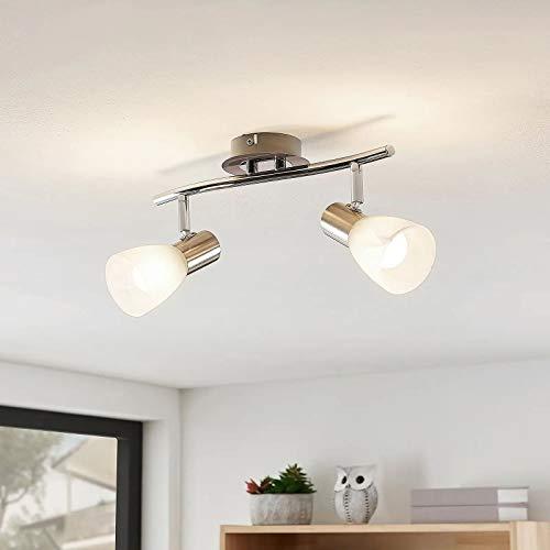 Depuley LED Deckenstrahler 2 Flammig Schwenkbar, E14 Deckenleuchte Wandspot Warmweiß (Glühbirne nicht inkl.), Glas Lampenschirm, 3000K, 2 * 5W Fassung für Bilder Flur Küche Studio