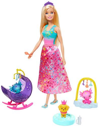 Barbie Dreamtopia Muñeca con Vestido de Estrellas y Mascotas Mágicas (Mattel Gjk51)