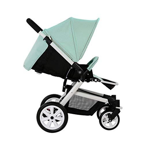 Cochecitos cómodos Cochecito Giratorio de 360 °, se Puede sentar Reclinable Luz Plegable A Prueba de Golpes Bebé Niño Trolley Viaje 0~3 años (Color: Verde)
