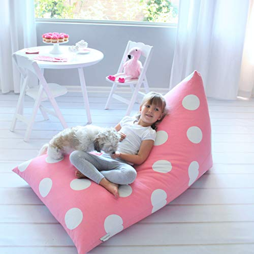 Butterfly Craze Stuffed Animal Storage Bean Bag Chair Cover – Stuff 'n Sit Toy Bag Floor Lounger for Kids, Teens and Adult |Extra Large 200L/52 Gal Capacity |Premium Cotton Canvas (Pink Polka Dot)