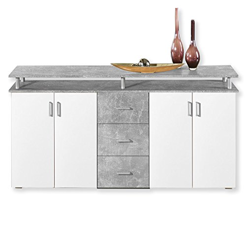 Unbekannt Sideboard Lift - Beton-Weiß - 178 cm
