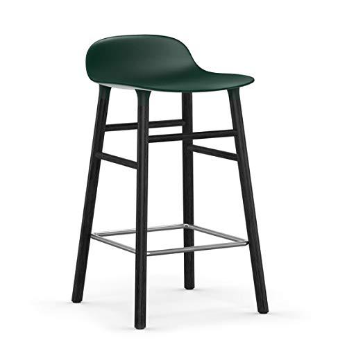 Normann Copenhagen vorm barkruk frame zwart 65cm, groen zitschaal polypropyleen frame hout zwart gelakt BxHxD 43x77x42,5cm