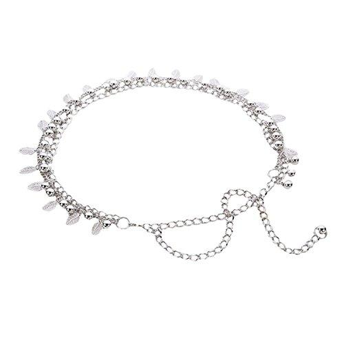 AiSi Damen Fashion Metall Gürtel Kettengürtel Taillengürtel Hüftgurt,Ideal für Kleid, elegantes Design gold silber, Silber 1, Einheitsgröße