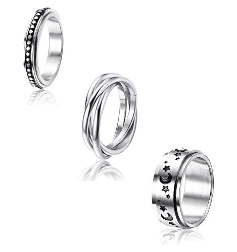 Milacolato 3 Pcs Stainless Steel Spinner Ring for Women Mens Fidget Band Cool Rings Moon Star Celtic Stress Relieving Wide Wedding Promise Rings Set(Size 5-8)