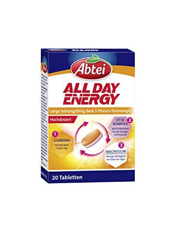 Abtei All Day Energy - Nahrungsergänzungsmittel unterstützend für langanhaltende Leistungsfähigkeit - hochdosiert mit B-Vitaminen, Magnesium und Guarana - 1 x 20 Tabletten
