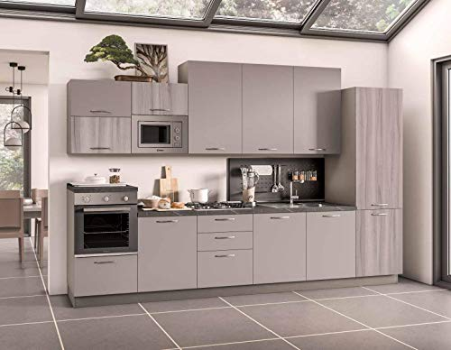 Germanvox - Cocina modular moderna de 360 cm, con 5 electrodomésticos, nevera, horno, superficie de cocción, campana extractora, lavavajillas y microondas suspendido empotrado