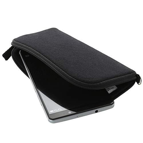 Handyhülle mit Handschlaufe 7.2 - universal Größe 4XL kompatibel mit Samsung Galaxy A12 A20s A21s A42 A71 A72 M11 M51 / S21 Plus / Nokia 2.4 5.4 / Oneplus N10 N100 - Handytasche schwarz