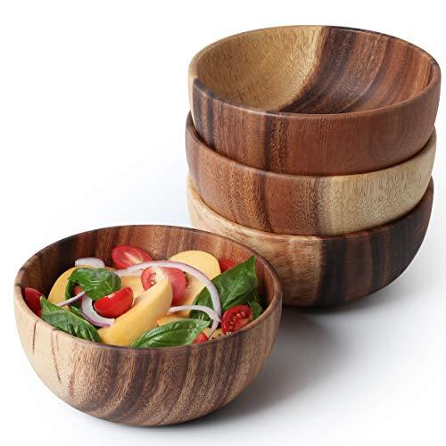 Acacia Wooden Salad Bowl 6.3inches Set of 4 - Individual Salad Bowls for Salad, Fruits and Cereal