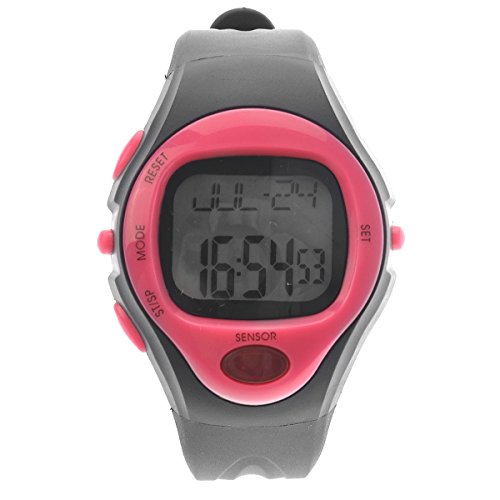 VORCOOL Fitness-Tracker, wasserdichte Unisex-Pulsuhr mit Pulsmesser Fitness-Armband-Uhr Kalorienzähler Sport-Digitaluhr mit Datum/Alarm/Stoppuhr (Rosig)