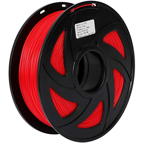 TPU 3D Printer Red Filament Supplies 1.75mm Flexible 3D Printing TPU Red Filament 1Kg Spool Red for 3D Printers Auto Parts Industrial Parts Footwear Medical Sanitary Products