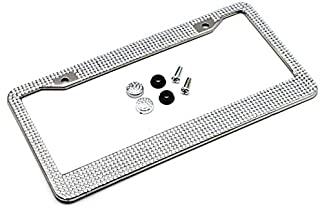 Car Parts 2PCS Bling Crystal License Plate Frame Women Luxury Handcrafted Rhinestone Car Frame Plate with Ignition Button ...